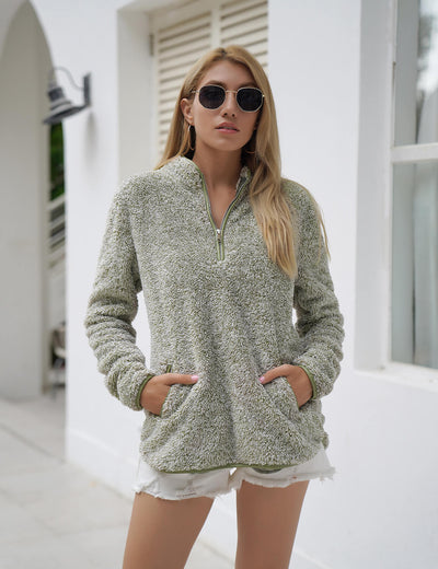 Blooming Jelly_Half Zipper Fuzzy Sweatshirt_Dark Sea Green_307003_09_Women Warm Autumn Outfits_Tops_Sweatshirt