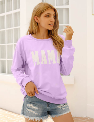 Blooming Jelly_Violet Mama Print Sweatshirt_Letter Print_307008_15_Mom Style Casual Outfits_Tops_Sweatshirt