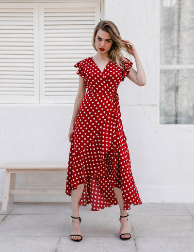 Retro Ruffle Sleeves Maxi Dress - Blooming Jelly