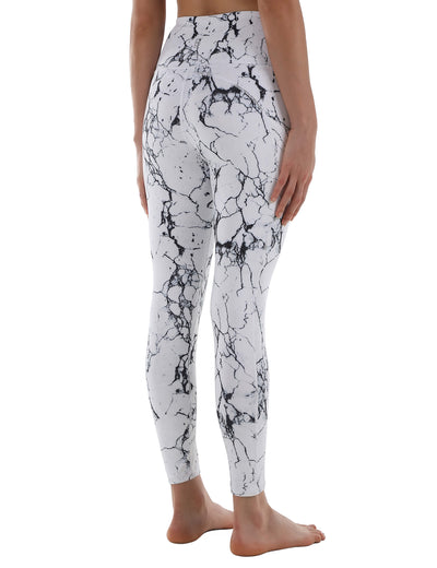 Active Marble Print High Waist Yoga Leggings - Blooming Jelly