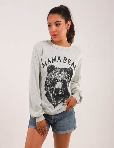 【Only 98 Left】Mama Bear Print Drop Shoulder Sweatshirt - Blooming Jelly