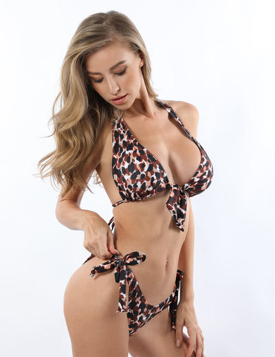 Sexy Wild Girl Leopard Triangle Bikini Set - Blooming Jelly