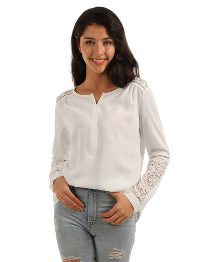 Blooming Jelly_Elegant Lace Patchwork Loose Chiffon Blouse_White Lace Panel_154097_19_Graceful Women Daily Wear_Tops_Blouse