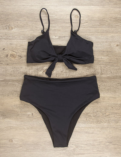 Sexy Babe Bow Tie Front Bikini Set - Blooming Jelly