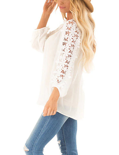 Pure Color Hollow Out Floral Sleeve Blouse - Blooming Jelly