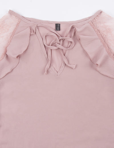 Blooming Jelly_Lace V Neck Butterfly Sleeve Chiffon Blouse_Pink_155014_14_Elegant Spring&Autumn Outdoor_Tops_Blouse