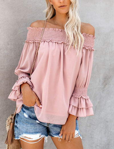 Blooming Jelly_Off the Shoulder Ruffled Chiffon Blouse_Pink_152541_14_Women Casual Street Wear_Tops_Blouse