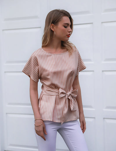 O Neck Striped Belted Waist Blouse