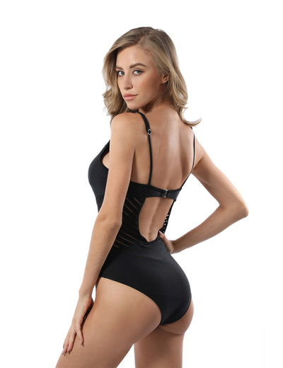 Sexy Mesh Panel Tummy Control One Piece Swimsuit - Blooming Jelly