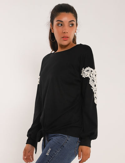 Blooming Jelly_Fantasy Land Tie Waist Puff Sleeves Top_Letter Embroidered_153278_02_Women Autumn&Winter Outdoor_Tops_Blouse