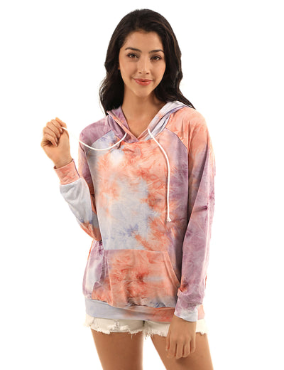 Casual Tie Dye Pouch Pocket Hoodie