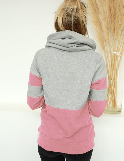 Front Pocket Contrast Color Drawstring Hoodie