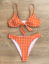 Blooming Jelly_Joy Parade Tie Front Ruffle Bikini Set_Coral Plaid_113007_13_Summer Vacay High Cut_Swimsuit Bikini Set