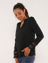 Blooming Jelly_Lace Patchwork Tunic Tops V Neck Blouse_Black_156059_02_Graceful Spring&Autumn Daily Wear_Tops_Blouse