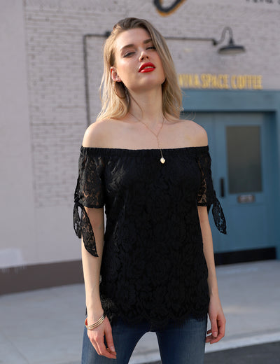 Elegant Lace Off-the-Shoulder Blouse