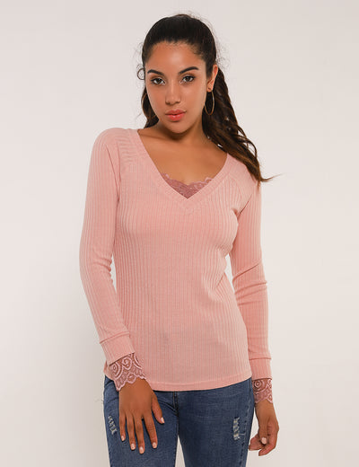 Blooming Jelly_Elegant Ribbed Lace Patchwork Blouse_Misty Rose Pink_154080_14_Elegant Autumn&Winter Outdoor_Tops_Blouse