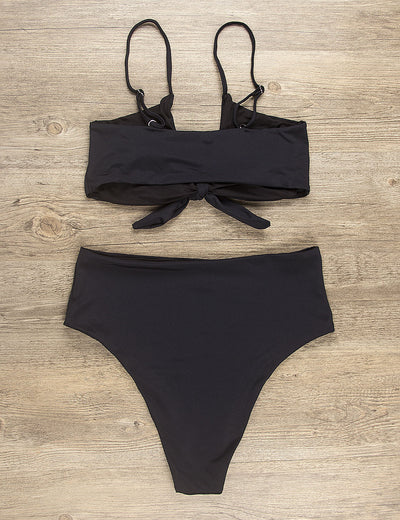 Blooming Jelly_Sexy Babe Bow Tie Front Bikini Set_Black_115023_02_High Waist Fashion_Swimsuit Bikini Set