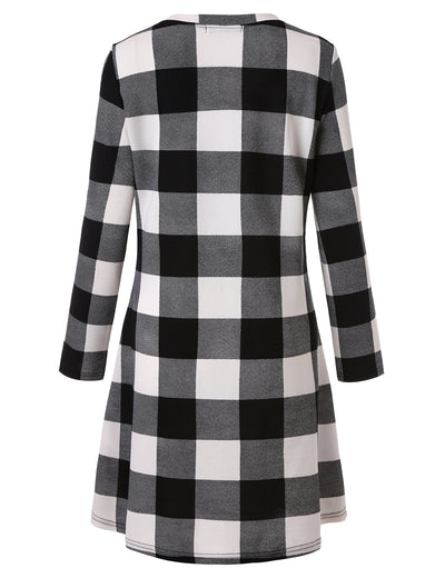 Plaid Scoop Neck Long Sleeve Swing Mini Dress - Blooming Jelly