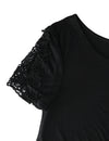 Lace Patchwork Sleeve T-shirt Knotted Top
