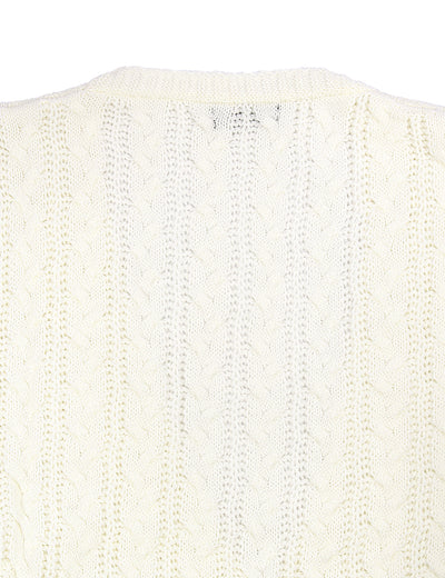 Cozy Up Open-Front Cable Knit Cardigan - Blooming Jelly