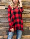 Classical Checker Plaid Loose Tunic Blouse - Blooming Jelly