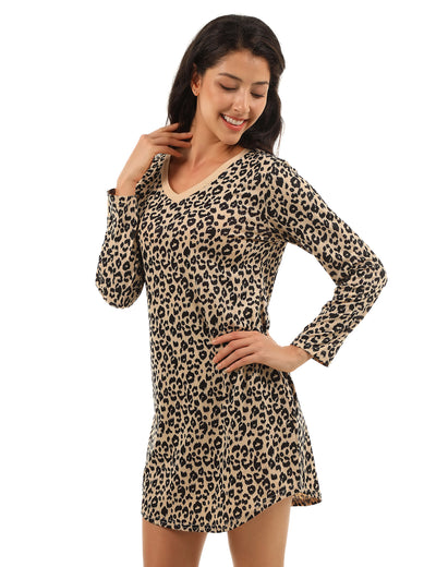 Blooming Jelly_Wild Beauty Leopard V Neck Mini Dress_Leopard Patchwork_146337_22_Cute Women Long Sleeves_Dress_Mini Dress