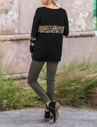 Blooming Jelly_Wild Leopard Patchwork Loose Top_Leopard Patchwork_156139_02_Fashion Autumn&Winter Women Outdoor_Tops_Blouse