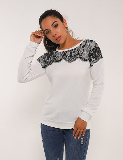 Blooming Jelly_Eyelash Lace Panel Patchwork Blouse_White Lace Panel_154081_19_Elegant Outdoor Winter Daily Wear_Tops_Blouse