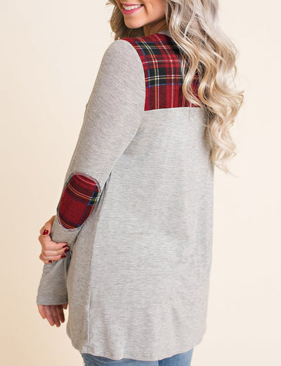Blooming Jelly_Gingham Pocket Checker Panel Blouse_Gray Checker Patchwork_155004_07_Cozy Autumn Outdoor Plaid_Tops_Blouse