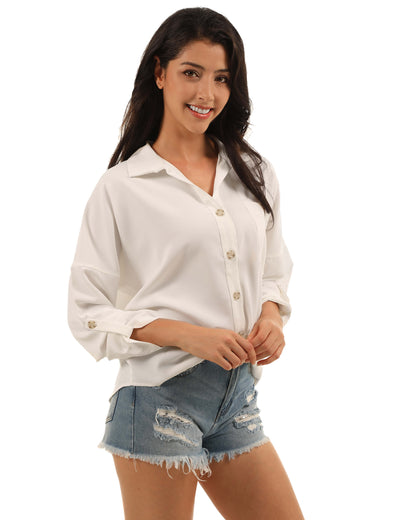 OL Style Button Up Front Pocket Blouse - Blooming Jelly