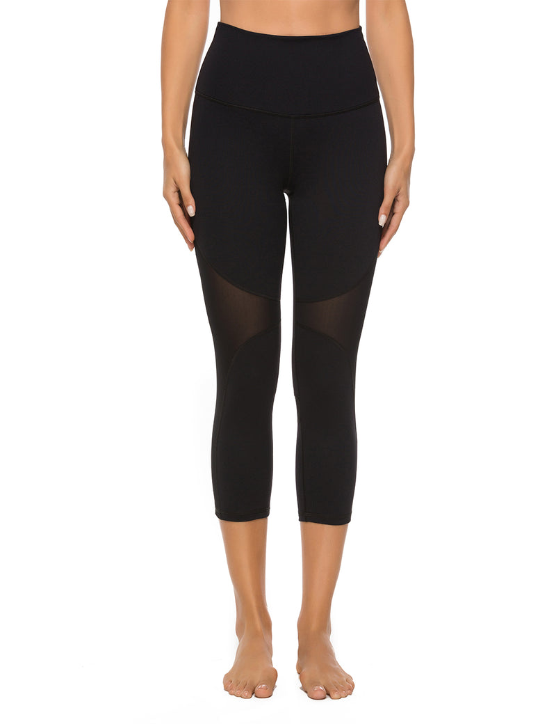 Mesh Pacthwork High Waist Yoga Leggings - Blooming Jelly