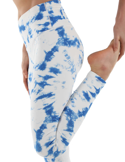 Tie Dye High Waist Pocket Yoga Leggings - Blooming Jelly
