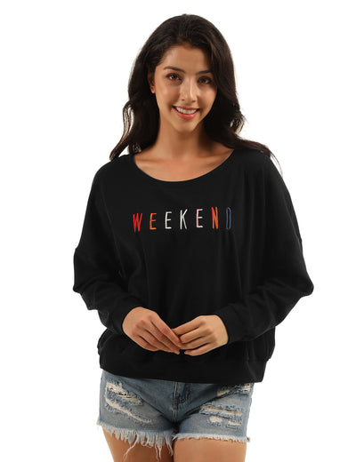Blooming Jelly_Lazy Weekend Oversized Batwing Sweatshirt_Colorful Embroidered Black_306316_02_Women One Shoulder Outdoor Wear_Tops_Sweatshirt