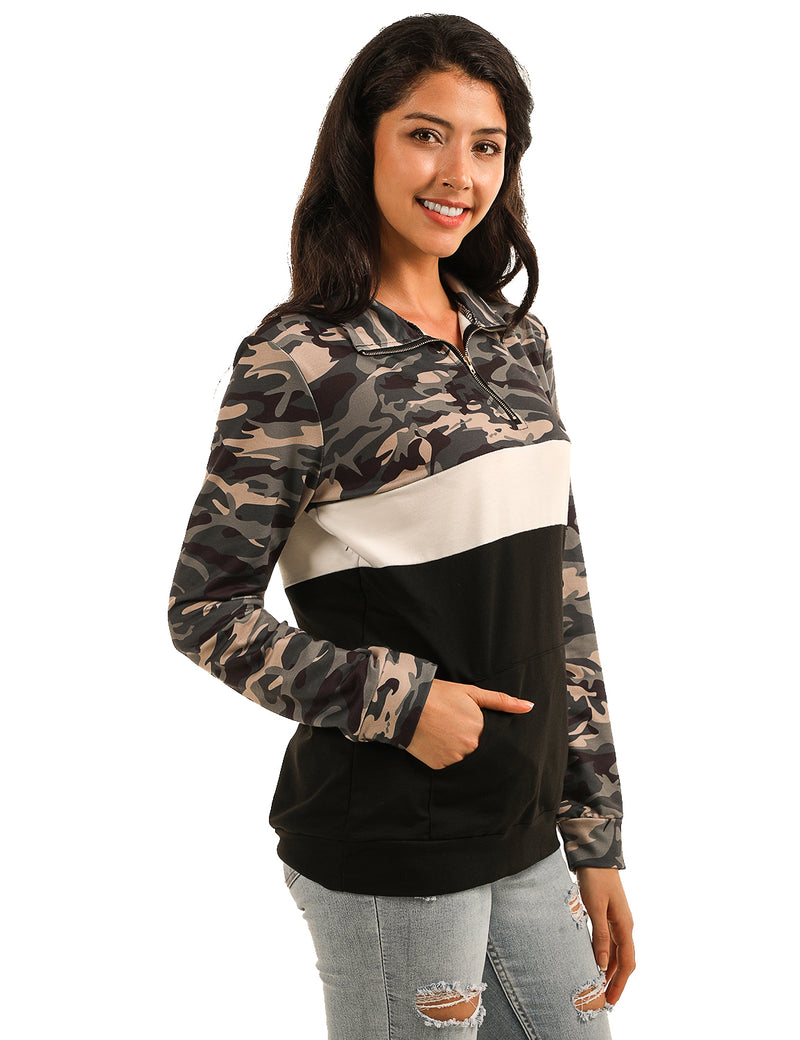 Sporty Mock Neck Half Zipper Camo Sweatshirt - Blooming Jelly