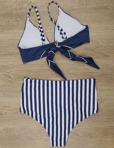 Retro Navy High Waiste Striped Bikini Set