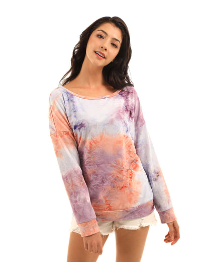 Trendy One Shoulder Tie Dye Sweatshirt - Blooming Jelly