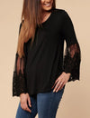 Blooming Jelly_Emboridered Lace Butterfly Sleeve Blouse_Black_152596_02_Elegant&Cozy Women Autumn&Spring Wear_Tops_Blouse