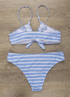 Summer Jumping Stripe Tie Front Bikini Set - Blooming Jelly