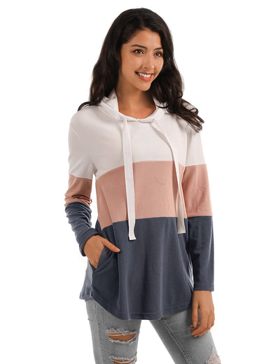 Blooming Jelly_Fun Day Contrast Color Drawstring Hoodie_Pink&Gray&White Color Block_303016_07_Loose Women Autumn&Winter Wear_Tops_Hoodie