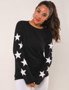 Blooming Jelly_Dreamy Stars Sleeves Pullover Sweatshirt_White Stars Print_293002_02_Women Casual  Long Sleeves_Tops_Sweatshirt