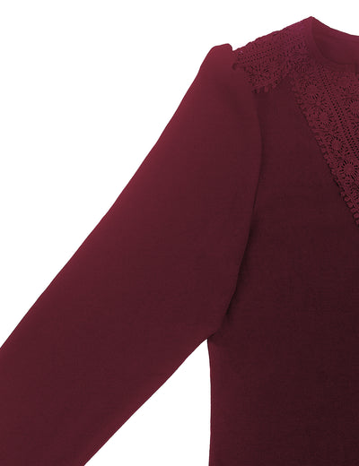 Blooming Jelly_Lace Patchwork Tunic Tops V Neck Blouse_Maroon_156059_27_Graceful Spring&Autumn Daily Wear_Tops_Blouse