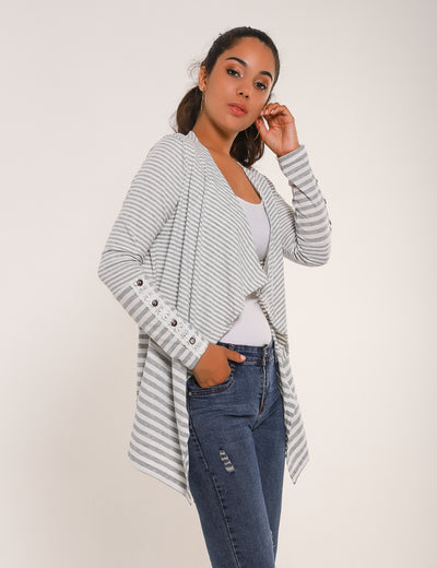 Elegant Lace Sleeves Striped Thin Cardigan - Blooming Jelly