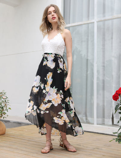 Stunning Asymmetrical Floral Maxi Dress - Blooming Jelly