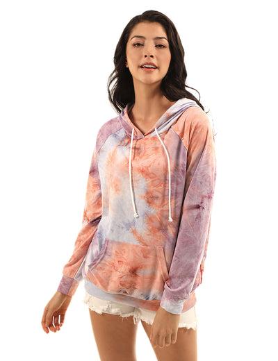 Casual Tie Dye Pouch Pocket Hoodie - Blooming Jelly