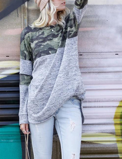 Oversized Camouflage Patchwork Pullover T-Shirt - Blooming Jelly