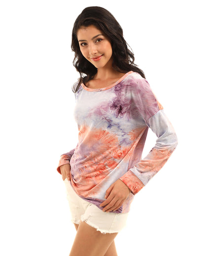 Trendy One Shoulder Tie Dye Sweatshirt