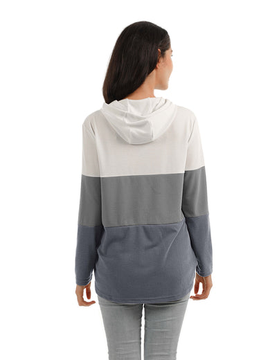 Blooming Jelly_Fun Day Contrast Color Drawstring Hoodie_White&Gray Color Block_303016_14_Loose Women Autumn&Winter Wear_Tops_Hoodie