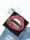 Blooming Jelly_Cute Leopard Red Lip T-Shirt_Graphic Print_154110_02_Women Casual Summer Wear_Tops_T-Shirt