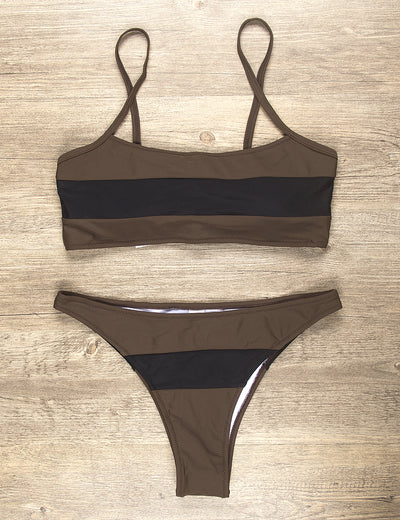 Vigorous Angel Striped High Leg Bikini Set