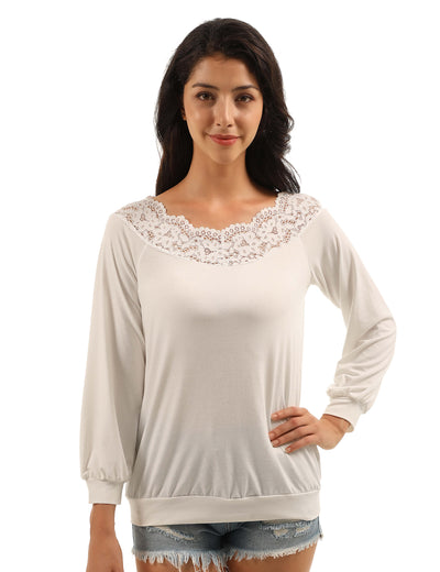 Lovely Off the Shoulder Lace Collar Blouse